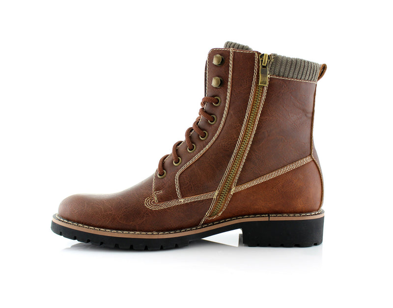 Brown Men's Motorcycle Fashion Boot Synthetic Leather Boots Baldwin Side With Zipper