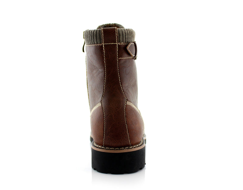 Brown Men's Motorcycle Fashion Boot Synthetic Leather Boots Baldwin Back