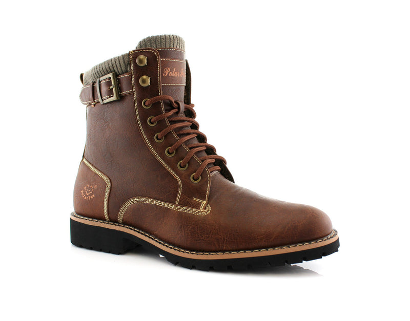Brown Men's Motorcycle Fashion Boot Synthetic Leather Boots Baldwin Side