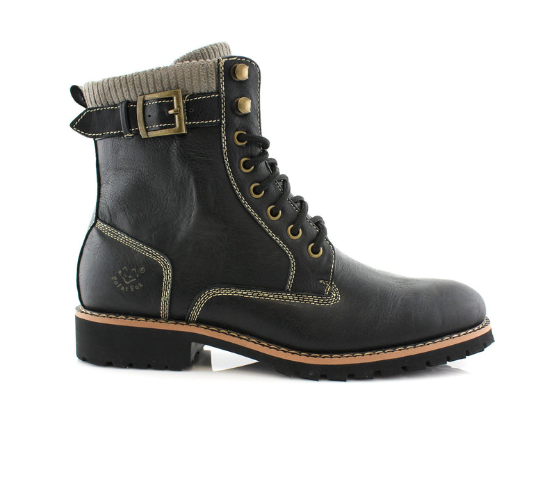 Black Men's Motorcycle Fashion Boot Synthetic Leather Boots Baldwin Side