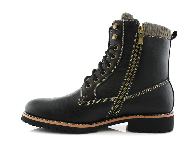 Black Men's Motorcycle Fashion Boot Synthetic Leather Boots Baldwin Side Gold Zipper