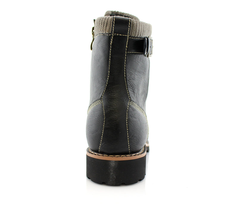 Black Men's Motorcycle Fashion Boot Synthetic Leather Boots Baldwin Back
