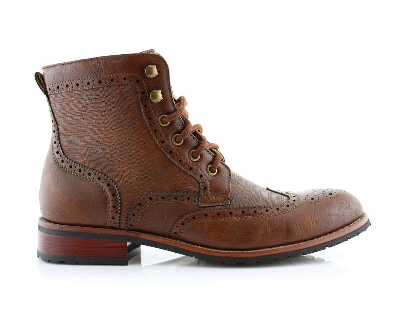 Brown Classic Wingtip Mid Top Boots with Full Brogue Side View