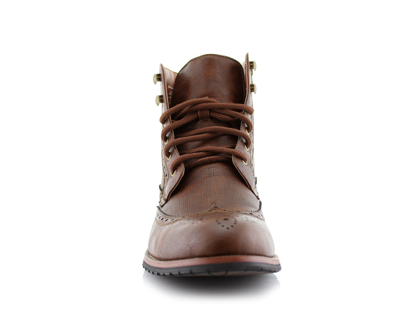 Brown Classic Wingtip Mid Top Boots with Full Brogue Front View