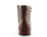 Brown Classic Wingtip Mid Top Boots with Full Brogue Back View