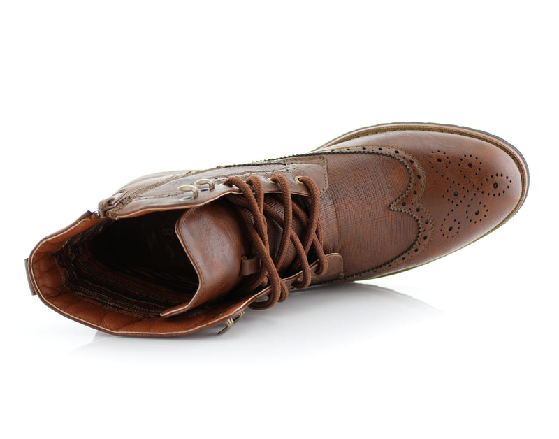 Brown Classic Wingtip Mid Top Boots with Full Brogue Top View
