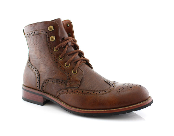 Classic Wingtip Mid Top Boots with Full Brogue by Polar Fox