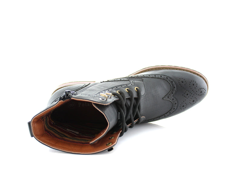 Black Classic Wingtip Mid Top Boots with Full Brogue Top View