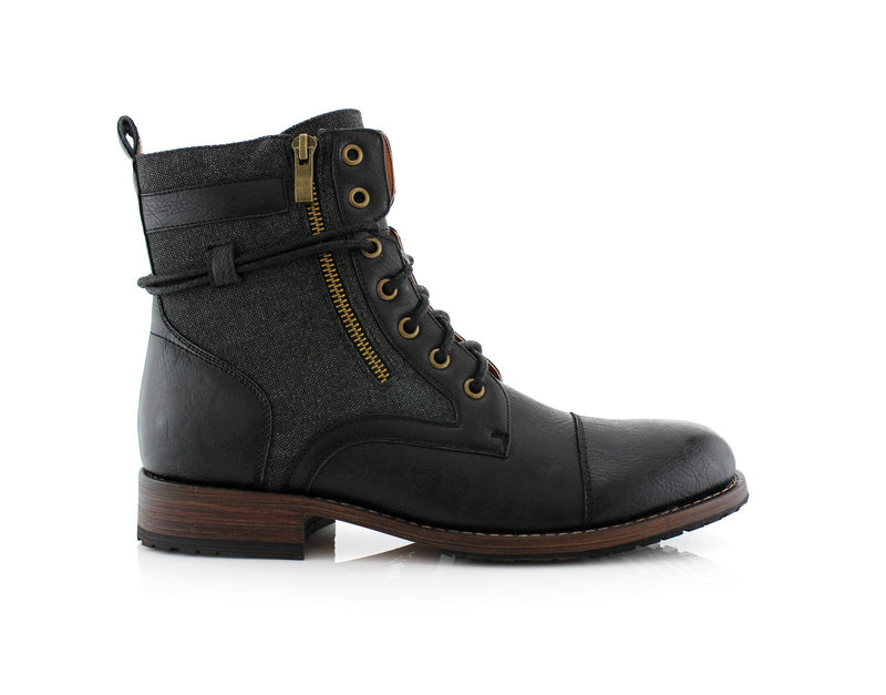 Men's Casual Black Boots To Wear With Jeans Kanye Side With Decorative Zipper