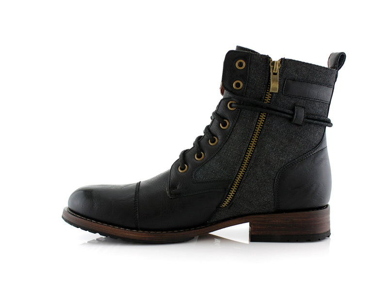 Men's Casual Black Boots To Wear With Jeans Kanye Side With Gold Zipper