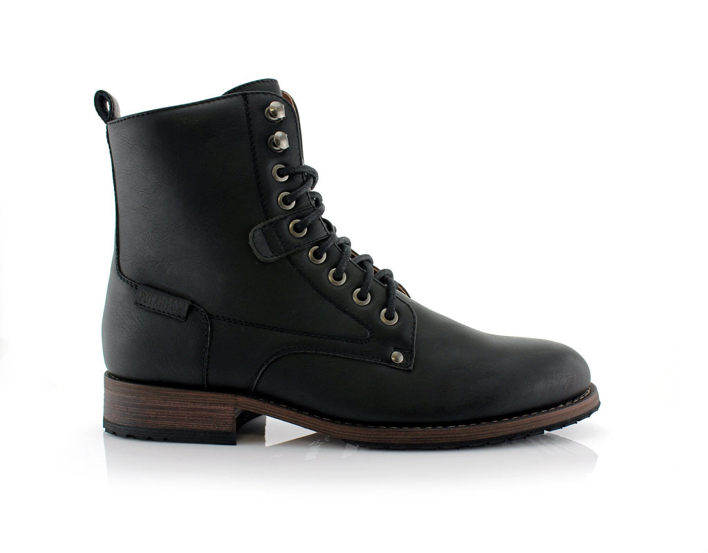 Black Urban-Sport Look Boots Men's Casual High Top Boots Curry Side View