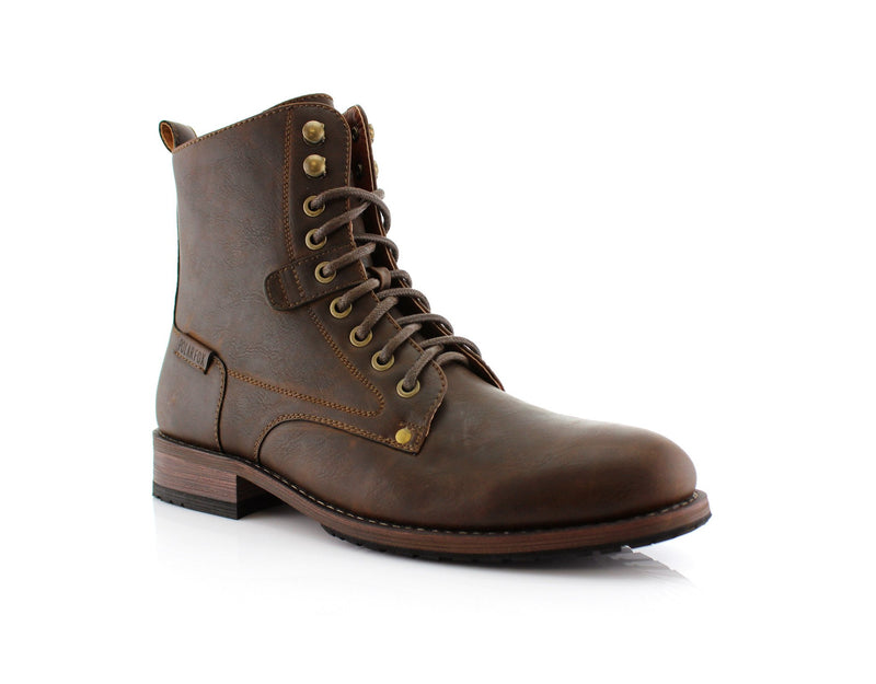 Brown Urban-Sport Look Boots Men's Casual High Top Boots Curry Side