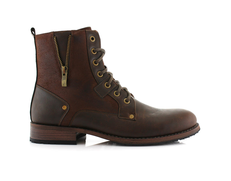 Brown Cowboy Suede Zipper Combat Motorcycle Boots Everyday Wear Jalen Side View
