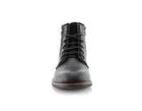 Black Suede & Vegan Leather Decorative Zipper Combat Boot Harrison Front View