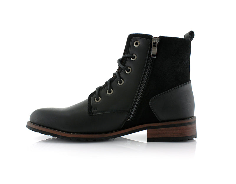 Black Suede & Vegan Leather Decorative Zipper Combat Boot Harrison Side Zipper