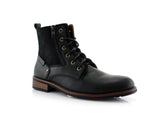 Black Suede & Vegan Leather Decorative Zipper Combat Boot Harrison Side View