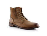 Brown Suede & Vegan Leather Decorative Zipper Combat Boot Harrison Side View