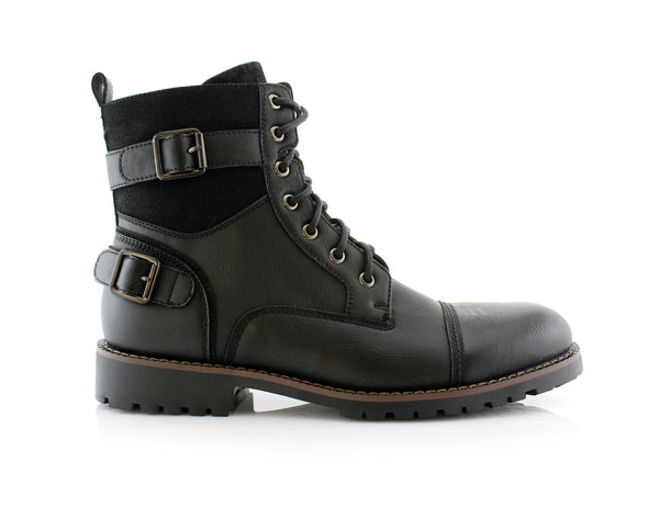 Men's Motorcycle Casual Combat Boot Patrick Side View In Black