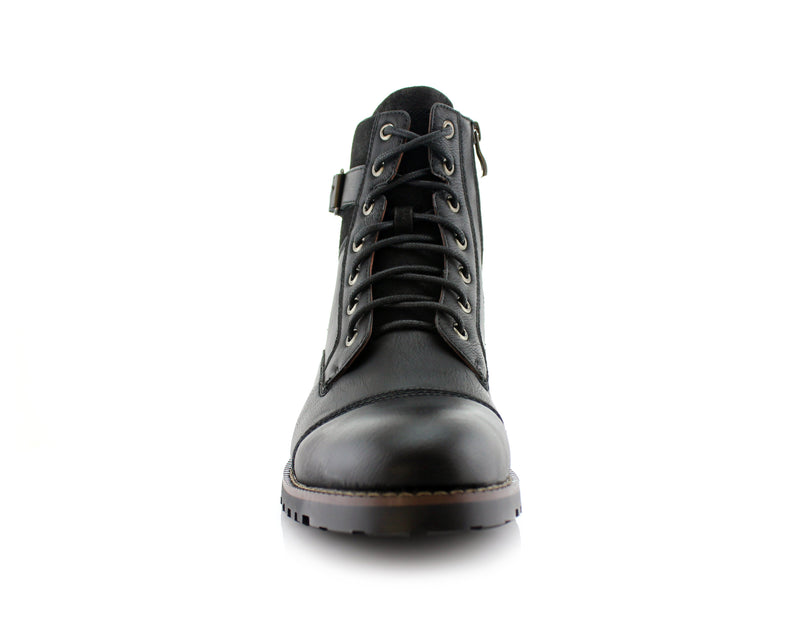 Men's Motorcycle Casual Combat Boot Patrick Front View In Black