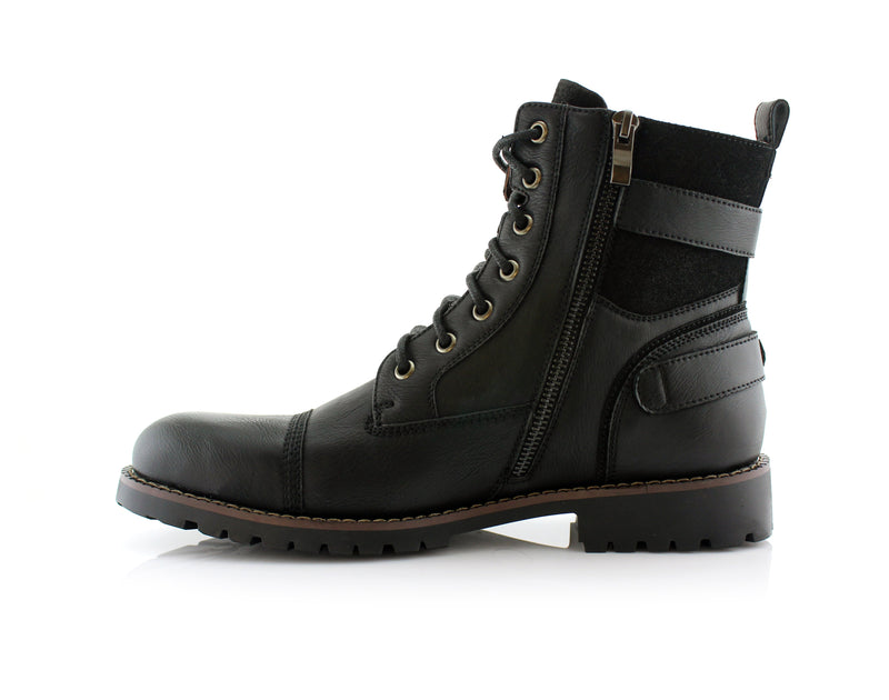 Men's Motorcycle Casual Combat Boot Patrick Side View with Zipper In Black