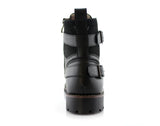 Men's Motorcycle Casual Combat Boot Patrick Back View In Black