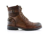 Men's Motorcycle Casual Combat Boot Patrick Side View In Browm