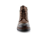 Men's Motorcycle Casual Combat Boot Patrick Front View In Browm