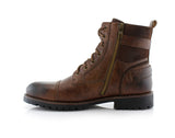 Men's Motorcycle Casual Combat Boot Patrick Side View In Browm with Zipper