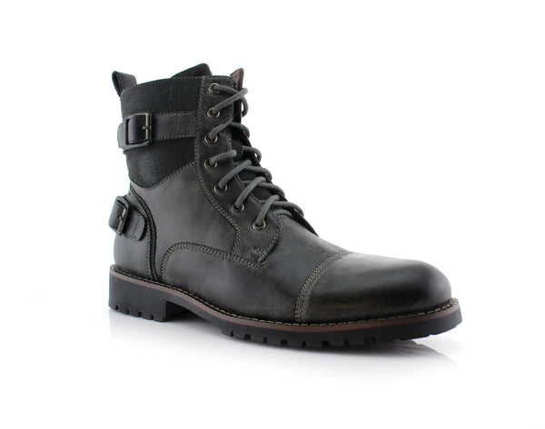 Men's Motorcycle Casual Combat Boot Patrick Side View In Gray