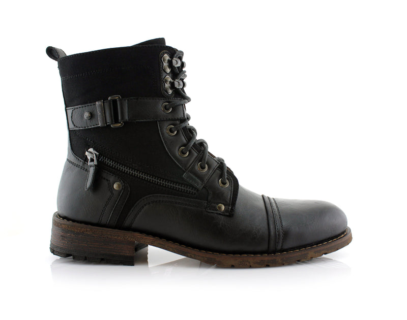 Polar Fox Asher MPX808585 Mens Cap Toe Ankle Lace-up Dress Combat Motorcycle Boots