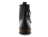 Black Polar Fox Men's Affordable Motorcycle Boots Back View