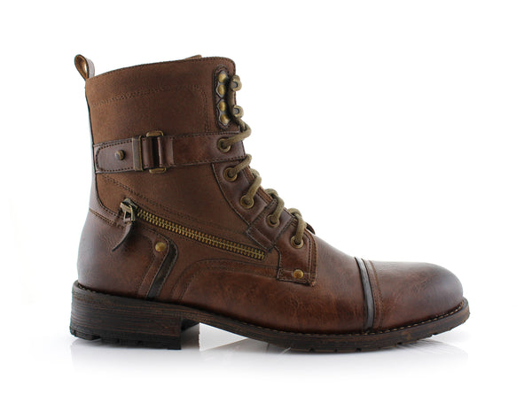 Brown Polar Fox Men's Affordable Motorcycle Boots Side View