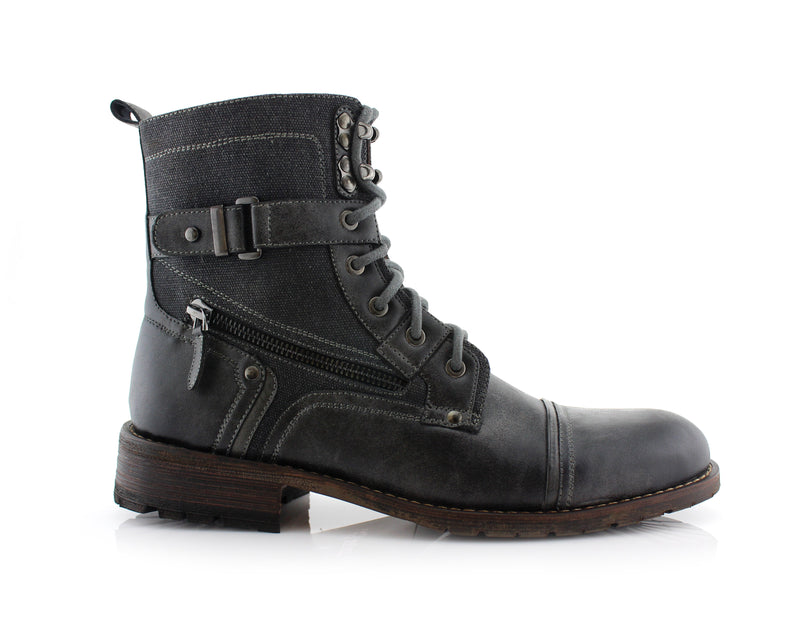 Gray Polar Fox Men's Affordable Motorcycle Boots Side View