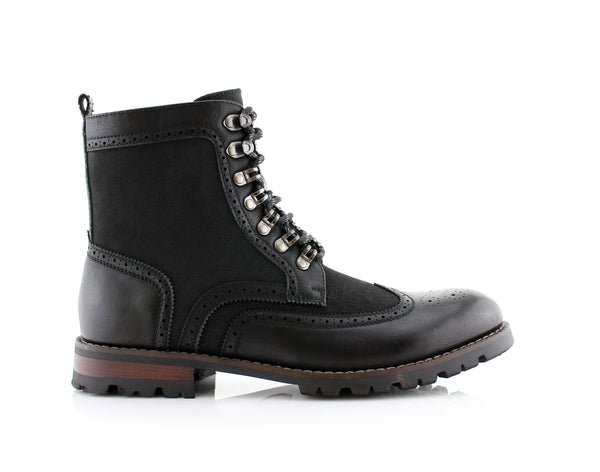 Black Full Brogues High Top Boots Cohen Side View