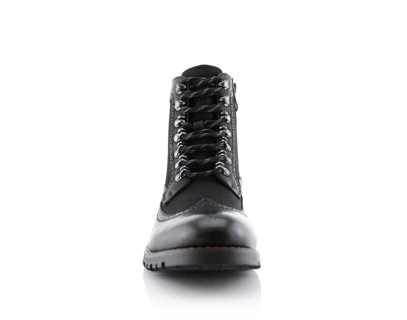 Black Full Brogues High Top Boots Cohen Front View