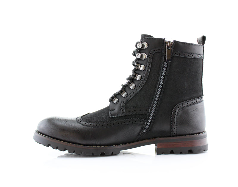 Black Full Brogues High Top Boots Cohen Side Zipper