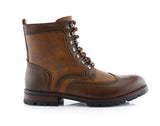 Brown Full Brogues High Top Boots Side