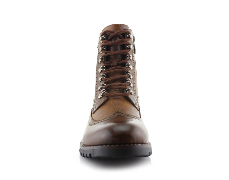 Brown Full Brogues High Top Boots Front