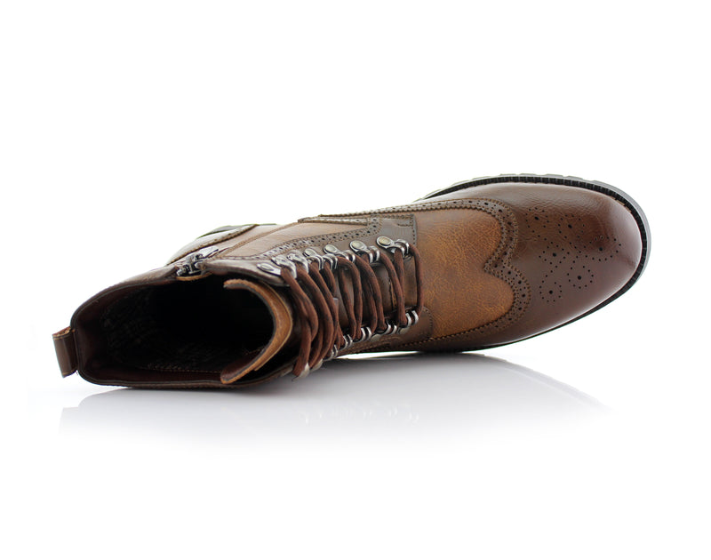 Brown Full Brogues High Top Boots Overlook