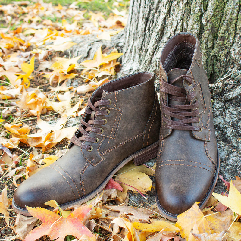 Brown Burnished Motorcycle Combat Boots photography