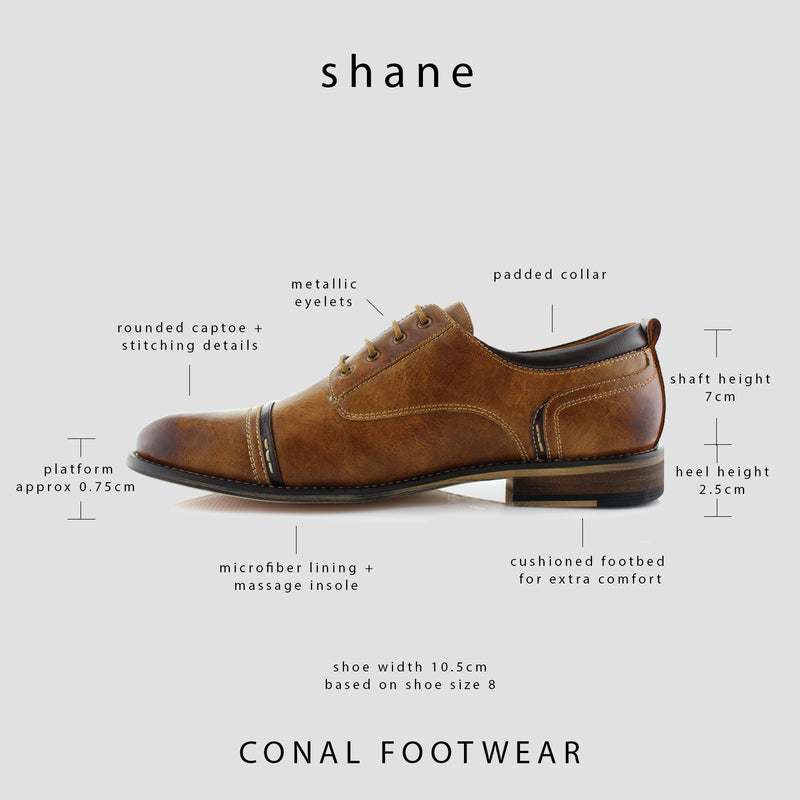 Burnished Derby Casual Shoes | Shane | Mens Cap Toe Duty Footwear | Brown Spec