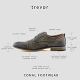 Classic Lace-Up Oxfords Vegan Leather Gray Shoes