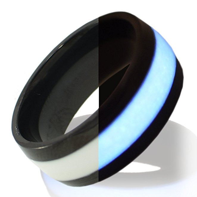 Glow in the dark black titanium ring Glowing Rings Carbon 6 Wedding Ring for men women engagement white luminescent lume rings bands