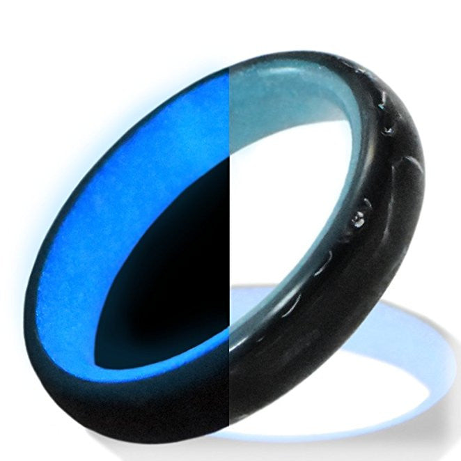 Glow in the dark carbon fiber ring Glowing Rings Carbon 6 Wedding Ring for men women engagement blue luminescent lume rings bands