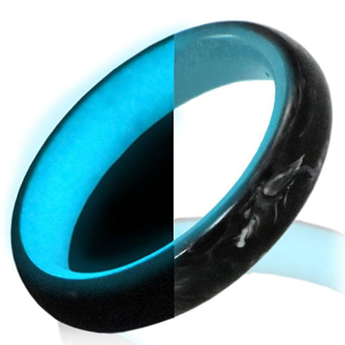 Glow in the dark carbon fiber ring Glowing Rings Carbon 6 carbon fiber Wedding Ring for men women engagement teal luminescent lume rings bands