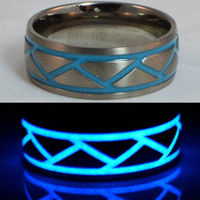 Glow in the dark titanium ring Glowing Rings Carbon 6 carbon fiber Wedding Ring for men women engagement blue weave luminescent lume rings bands