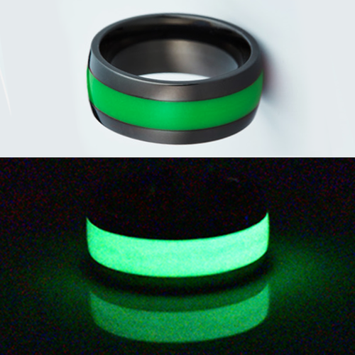 Glow in the dark titanium ring Glowing Rings Carbon 6 Wedding Ring for men women engagement green luminescent lume rings bands