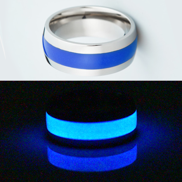 Glow in the dark titanium ring Glowing Rings Carbon 6 carbon fiber Wedding Ring for men women engagement blue luminescent lume rings bands