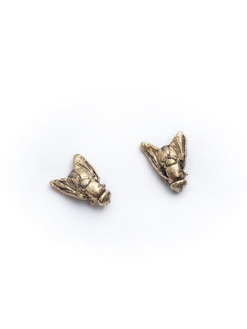 Gold fly stud earrings
