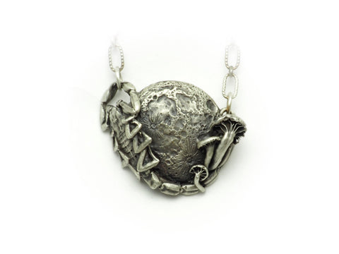 Scorpion full moon and mushroom necklace
